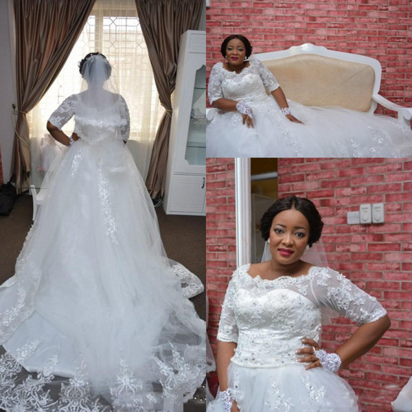 Lace Plus Size Nigeria Wedding Dresses Sheer Half Long Sleeve A Line Bridal Gowns South African