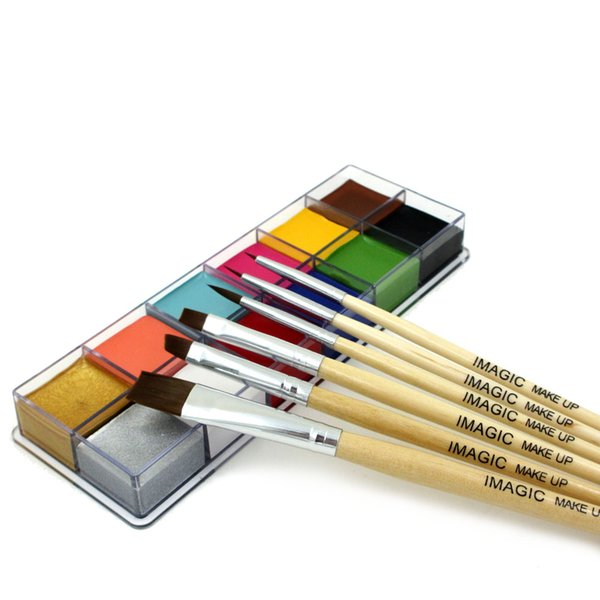 Wholesale-12 Flash Tattoo Color+6pcs Paint Brush Halloween Face Body Paint Oil Painting Art Cosmetic Make Up Set Tools Party Fancy Dress