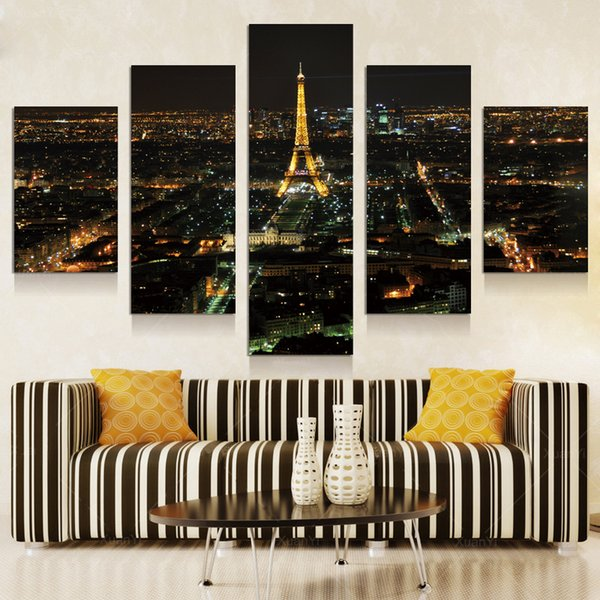 5p modern Home Furnishing HD picture Canvas Print art wall of the sitting room children room decoration theme --Night view of Paris#42