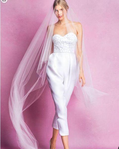 High quality Fashion Trousers Sexy Strapless Wedding Dresses 2018 Avant-garde Elegant Luxury Spaghetti Bridal Gowns Custom making