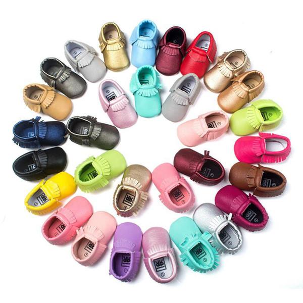 51 Renk Bebek moccasins yumuşak taban PU deri ilk yürüteç ayakkabı bebek yenidoğan ayakkabı Püsküller maccasions toddler ayakkabı B001