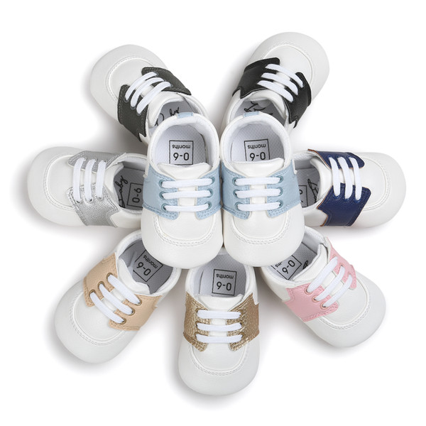 Newborn Non-slip Matte Leather Moccasins Supersoft Sole Infant Sports Shoes Girls Boys First Walkers Children Baby Kids Booties DHL Free