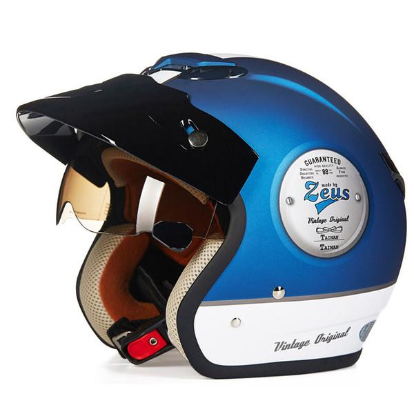 Moda Para halley ZEUS 381C 3/4 capacete capacete da motocicleta do vintage Antiqued Moto Casco scooter capacete capacete aberto DOT