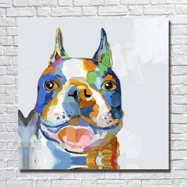 Original design decorative top quality cartoon bull dog oil painting for home wall decor cheap art paintings