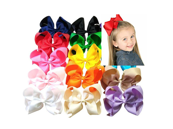 6 Inch Boutique Hair Accessory Knot Grosgrain Ribbon Hair Bow With Clip For Girl 15pcs