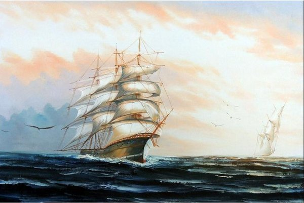 1800s Sail Boat Ships 3 Mast Blue Green Ocean Waves ,Free Shipping,Hand-painted Seascape Art oil painting On Canvas in any size customized