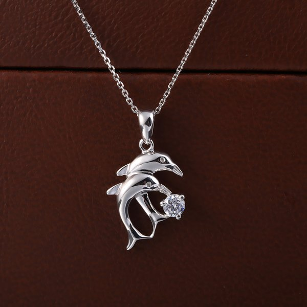 Exquisite fashion 925 standard sterling silver, love time Dolphin Pendant Chain, romantic style on behalf of delivery