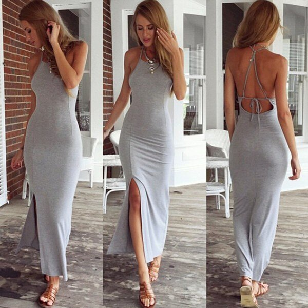 da597c4bb3 New Fashion women dress Grey Sleeveless summer dress Cotton sexy Backless  Bandage Maxi dress women party