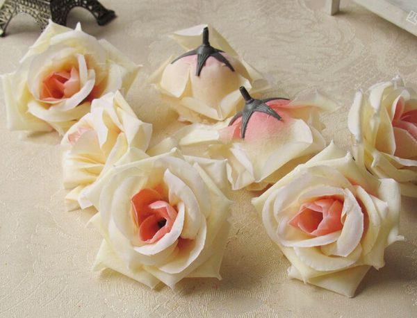 Cabeza de flor de seda rosa grande flores flores artificiales bola cabeza broche decoración de la boda flor 8.5 cm de diámetro