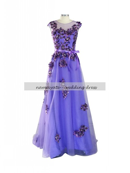Lilac A Line Crew Covered Button Sweep Train/Brush Train Sleeveless Bow,Applique Evening Dresses free shipping