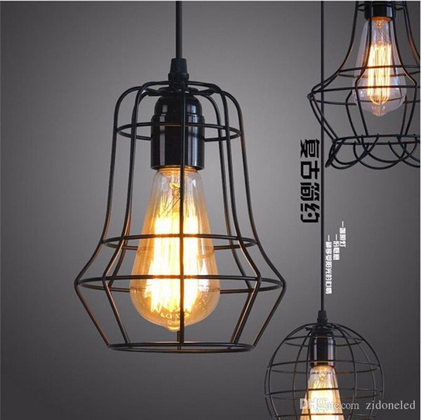 Loft led industrial pendant lighting chandelier balck iron cage lampshade warehouse style vintage indoor lighting fixture
