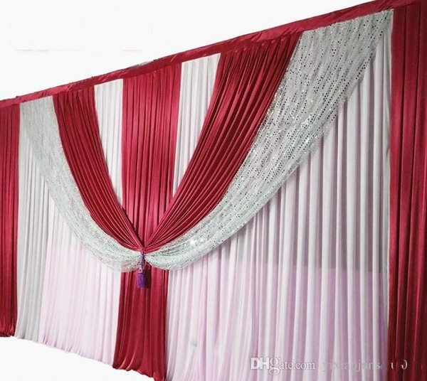 10ft*20ft Silver Sequins Beads Edge Design Wedding Backdrops Curtain with Fabric Satin Drape For Wedding Decor Prop Backdrop Decorations