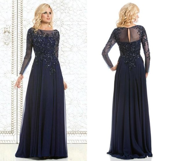 2016 Navy Blue Long Sheer Bateau Neck Illusion Mother Of The Bride ...