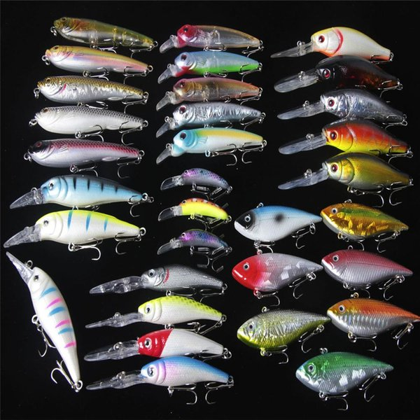 ABS Plastic Laser hard crank bait 32pieces Artificial Fish Fishing Lure set Rattles Shallow and Deep Diving Crankbaits Fishing Tackle