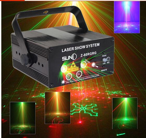 LED Laser Stage Lighting 5 Lens 80 Patterns RG Mini Led Laser Projector Blue Light Effect Show For DJ Disco Party Lights