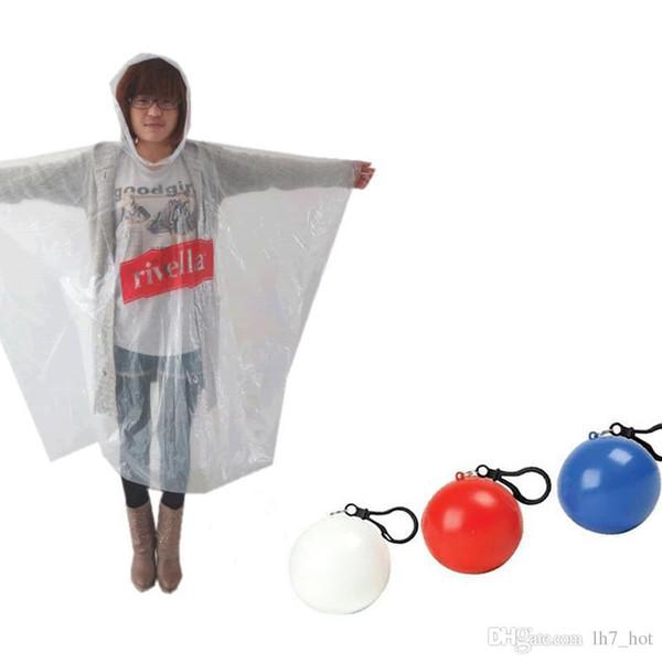 New Spherical Raincoat Plastic Ball Key Chain Disposable Portable Raincoats Rain Covers Travel Tour Trip Rain Coat
