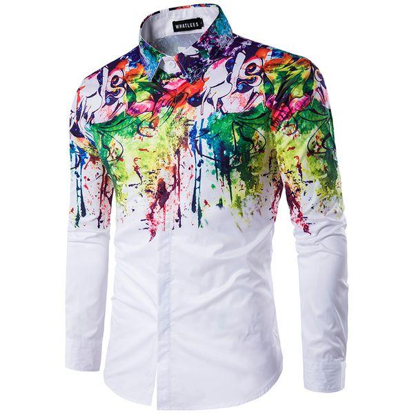 All'ingrosso 2017 camicia di moda urbana nuovo uomo inchiostro spruzzata vernice colore auto-coltivazione per il tempo libero 6 personalità camicia a maniche lunghe
