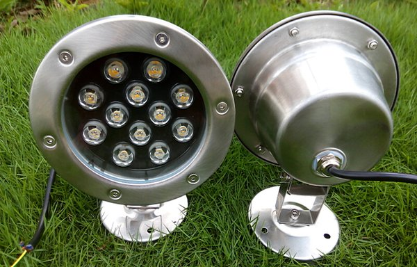 12 Watts LED Underwater Spot Light Bulbs Waterproof IP68 12V 220V 110V Fountain Pond Lighting Lamps 12W Warm white Cold white for Outside