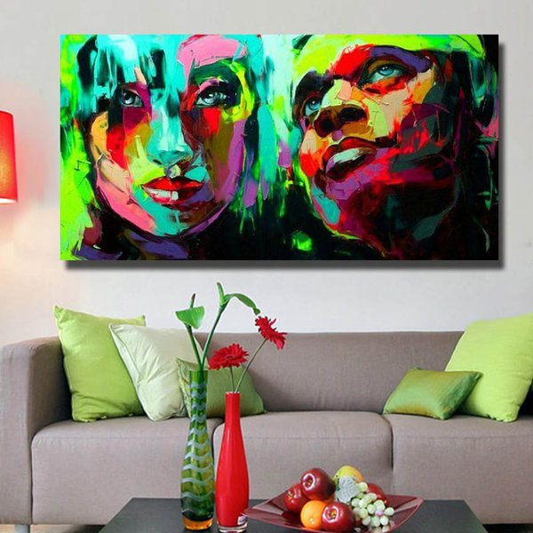 Hand Painted Modern Knife Man And Women Face Painting Home Decoration Wall  Art Painting On Canvas Hanging Pictures No Framed