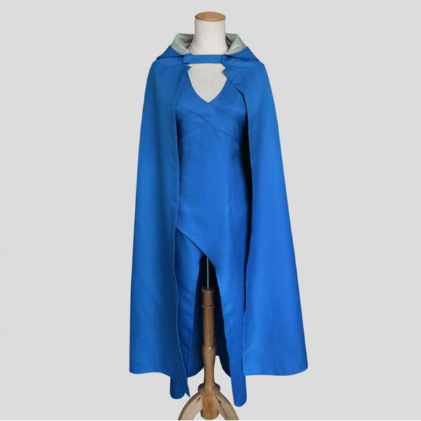 HOT A Game of Thrones Cosplay Show Costume Blue Dress Cloak 5 Sizes Christmas Halloween Party Costume Christmas gift