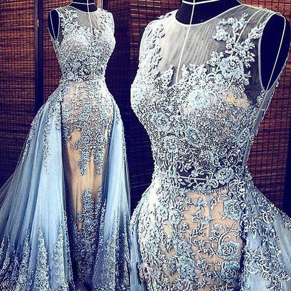 Echt Bilder Hellblau Elie Saab Abendkleider Abnehmbarer Zug Transparente Abendkleider Party Pageant Kleider Promi Abschlussball Lang