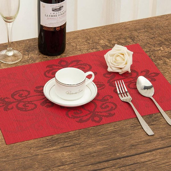 4Pcs/lot Placemat Chinese knot pattern dining tablemat disc pads bowl pad coasters waterproof table cloth pad slip-resistant pad