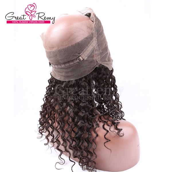 360 Lace Band Frontal Wig 8-20inch Hand Tied Lace Band Frontal 22*4*2 Size Unprocessed Curly Wave Virgin Peruvian Human Hair Greatremy