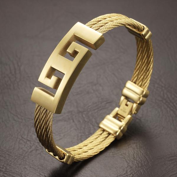 best selling High Quality gold Color stainless steel men bracelet jewelry punk heavy metal bracelets & bangles Great Wall Pattern Bracelet