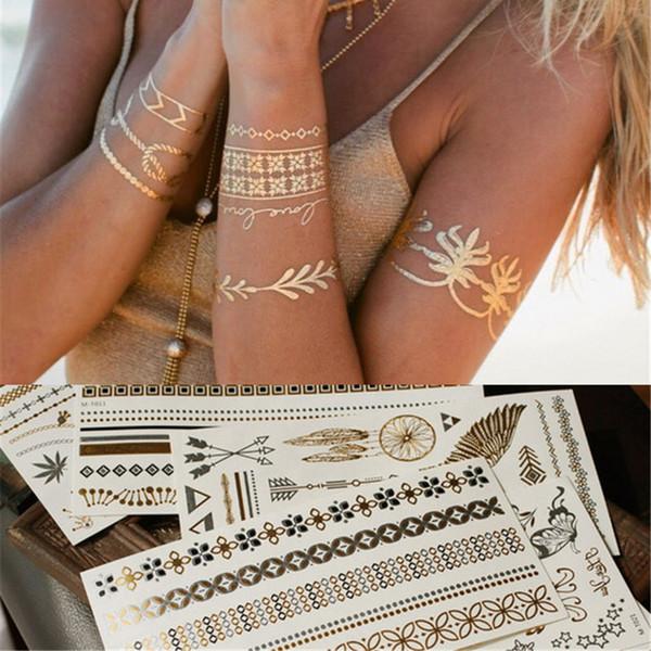 Großhandel 2016 Modeschmuck Gold Arten Tattoos Schmuck Temporäre Tattoos Aufkleber Flash Tattoo Style Body Art Feder Typ