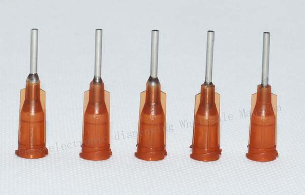 wholesale 15G W/ ISO standard Dispensing needles PP luer lock hub 0.5-inch tubing length precision S.S. dispense blunt tips
