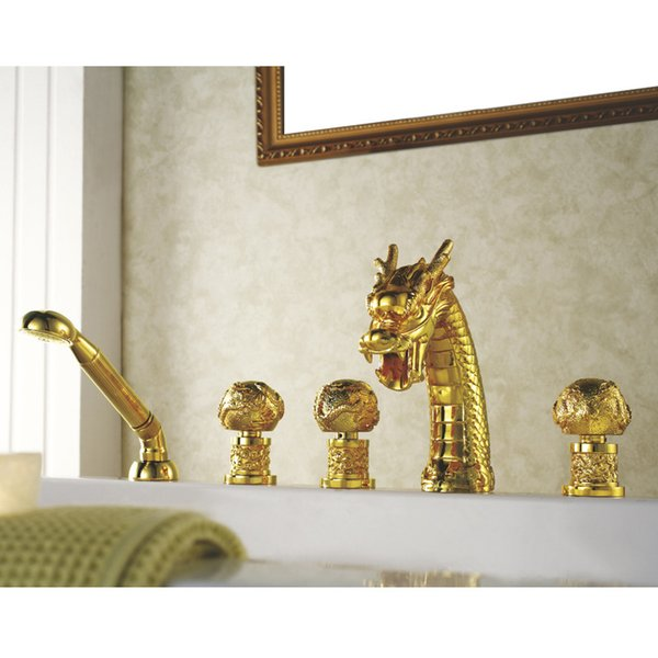 top popular Free shipping TI-Gold PVD 5 Pcs widespread bathroom dragon tub shower faucet mixer tap deck mounted dragon pattern handles 2021