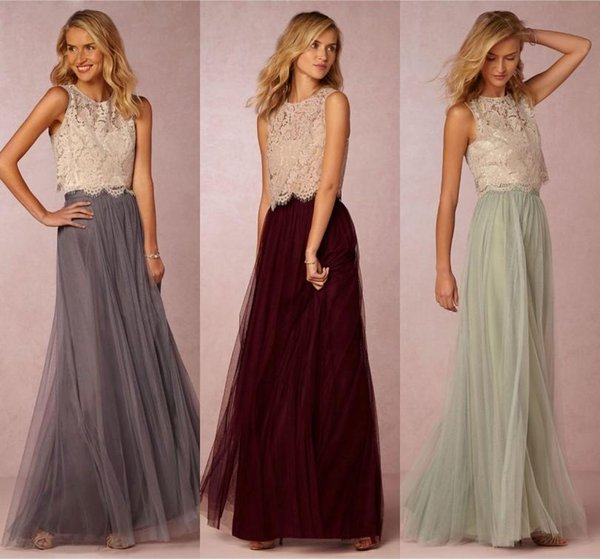 2016 Vintage Two Pieces Tulle Bridesmaid Dresses Lace Crop Top Ruched Floor Length Blush Mint Grey Burgundy Prom Party Gowns Custom Made