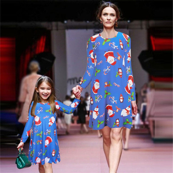 best selling INS XMAS Autumn Winter Long Sleeve Matching Mother Daughter Dresses Pajamas Christmas Mommy And Me Clothes Dress Look Family Clothing