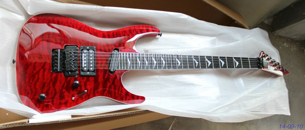 OEM Guitar New Arrival see thru red PES Electric Guitar High Quality Musical instruments with black parts!