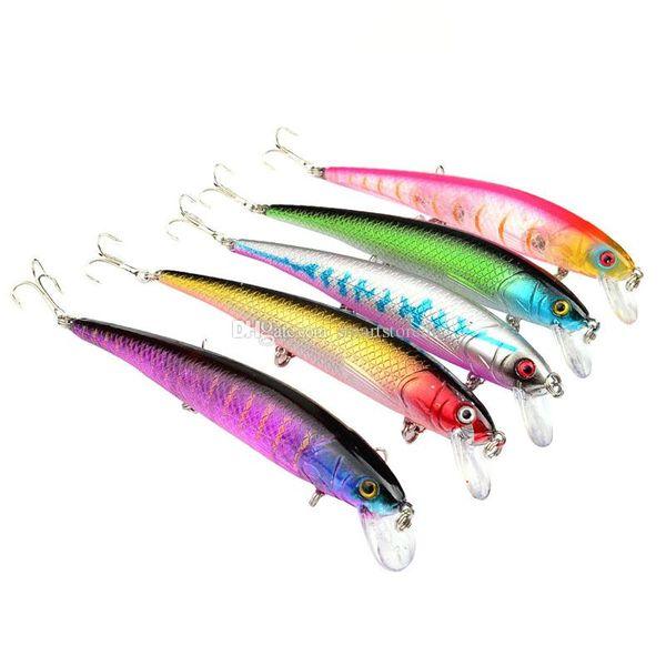 5Pcs Minnow Fishing Lure Crank Bait Hooks Bass Crankbait Tackle 12.5cm/17g F00375 CADR
