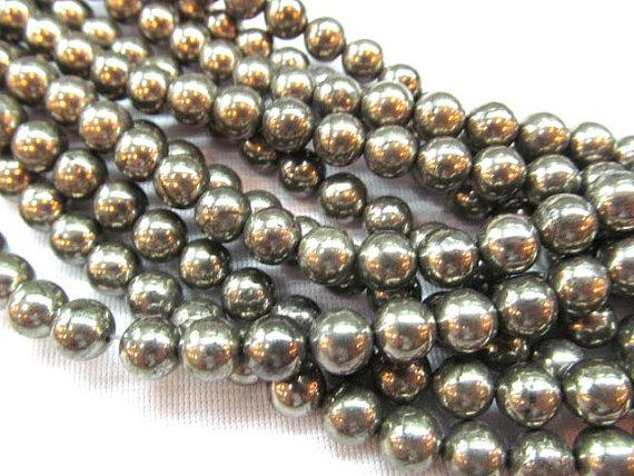 2strands 3 4 6 8 10 12mm genuine Raw pyrite crystal round ball polished iron gold pyrite beads