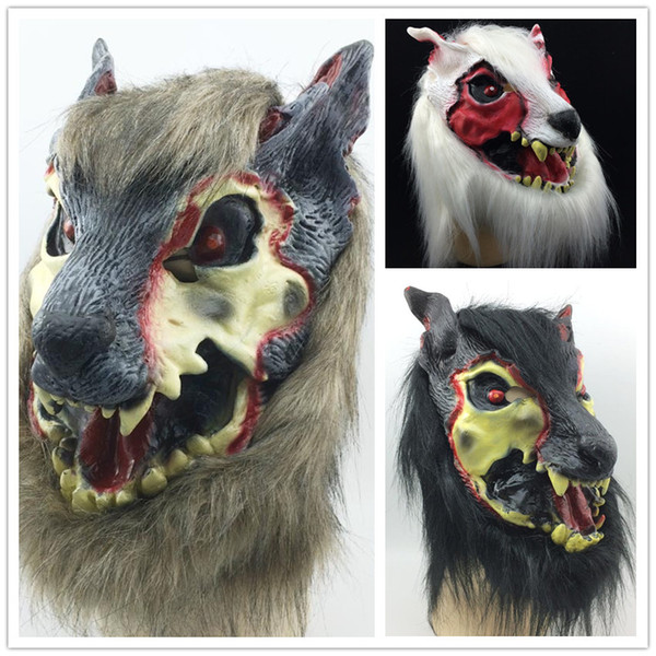 On Sale Scar wolf mask Full Face Halloween Party mask creepy animal mask Terrorist devil head costume brown black white three color