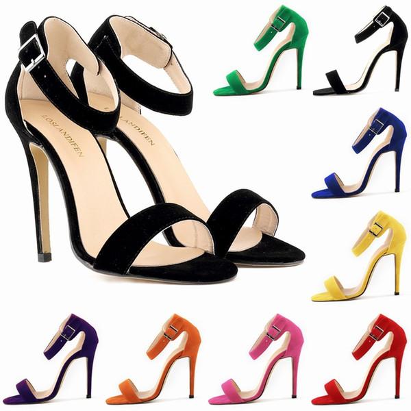 Sommer Offene spitze Ankle Straps Sandalen Frauen Schuhe Faux Wildleder High Heels Peep Toe Sandale Partei Lässig Ankle Strap D0095