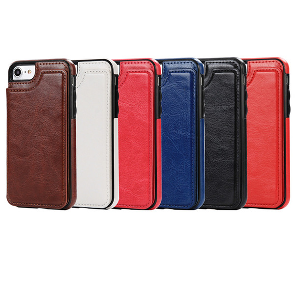 For iphone X 8 7 Wallet Leather Case Card Money Slots Slim Multi-functional Folio ID Window Shockproof TPU Cover for i6 6S plus SCA285