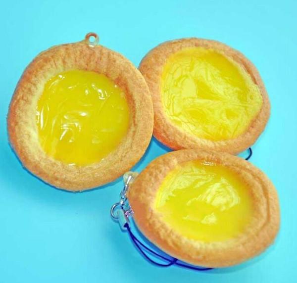 Free Ship 30pcs 5cm PU Egg Tart Squishy Food Kids Kitchen Toy Food Charm DIY Cell Phone Straps Fashion Bag Pendant Chirstmas Gift
