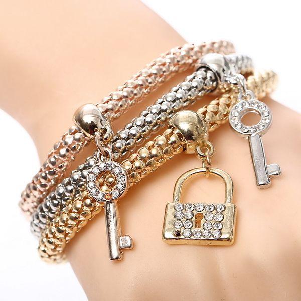 Fashion 3 PCS/Set Elasticity Key Lock Pendant Charm Bracelets for Women Rose Gold Silver Bracelets & Bangles