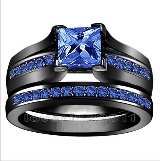 Großhandel - Prinzessin Schnitt 6mm blau Saphir simuliert Diamant 10KT Schwarzgold gefüllt GF 2-in-1-Verlobung Ehering Set für Weihnachtsgeschenk