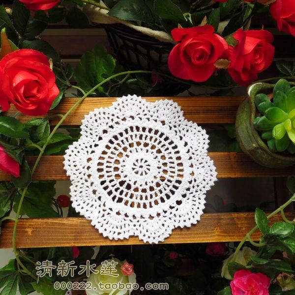 Wholesale- Handmade 18cm white Round decoupage Lace Doilies Crochet Coaster Table Placemats for table decoration accessories 10pcs/Lot