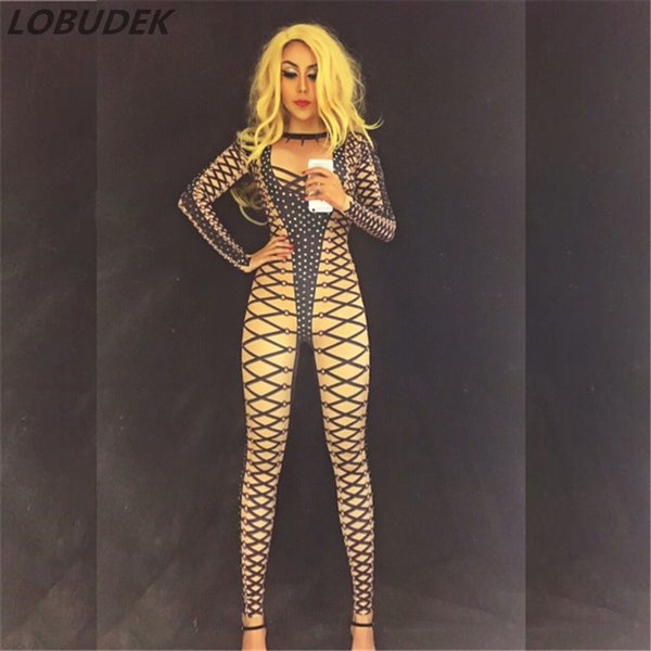 Sexy Bandage printing stretch leotard Rompers Shining Rhinestones Crystal jumpsuit Club Bar female singer stage Pole dance costumes DJ show