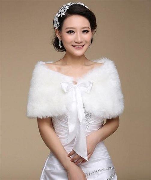best selling Cheap Faux Fur Wedding Wraps Shrug Bridal Gowns Warm Shawls Stole Cape Stock Bolero For Ladies Formal Wear Ribbon Tie Bow Free Shipping
