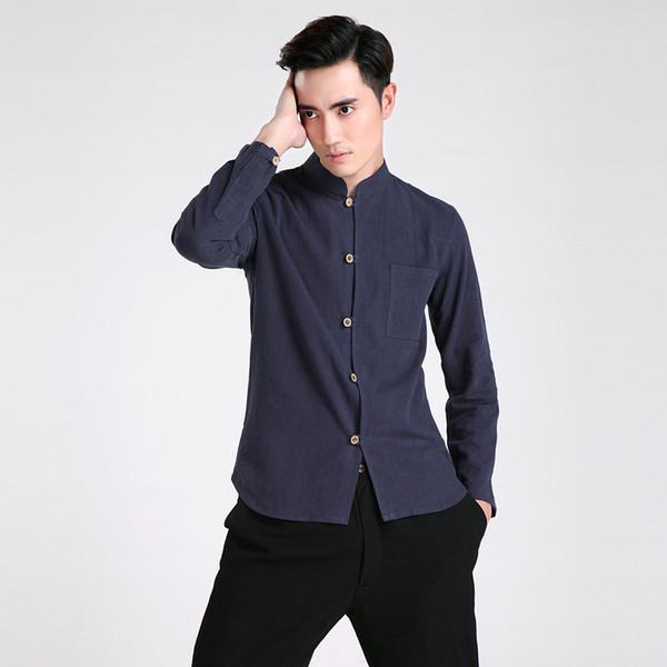 Free shipping Long Sleeve Tang suit Chinese Traditional clothing Kung Fu Shirt mandarin collar Chinese Shirt Linen Chinese Top