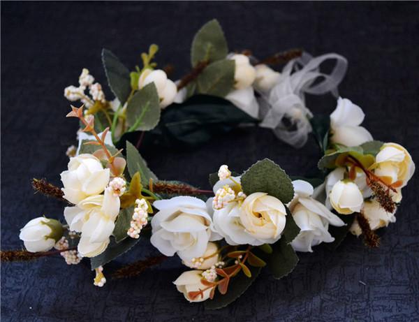 Flower Headband Bridal Garland Crown Wedding Head Wreath 2 Colors Available Free Shipping