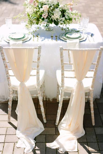 Custom Made 2016 Feminine Champagne Chiffon Chair Covers Cheap Chair Sashes Romantic Wedding Decorations Wedding Supplies 076