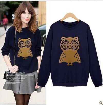 New Arrival Nice Women's Sweatshirts Korean Women Loose Turtleneck Sweater Owl Thin Section Sweatshirt 3 colors Plus Size M-XXL
