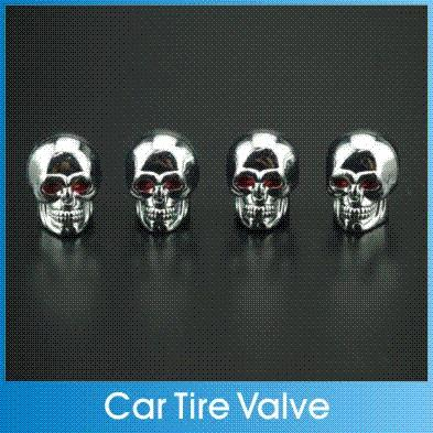 4Pcs/lot Aluminum Car Universal Tire Tyre Wheel Round Rims Valve Electroplate Cap Skull Styling For Motorcycle Truck Bicycle